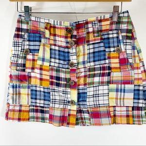 J Crew Madras Plaid Skirt Size 4 Mini Button Front